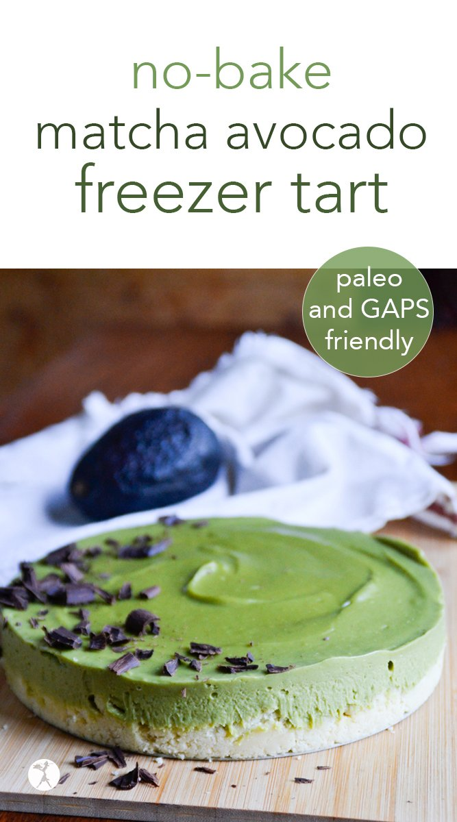 Paleo No-Bake Matcha Avocado Tart #matcha #avocado #rawfood #paleo #gapsdiet #dessert #glutenfree #dairyfree #eggfree #refinedsugarfree #nobake