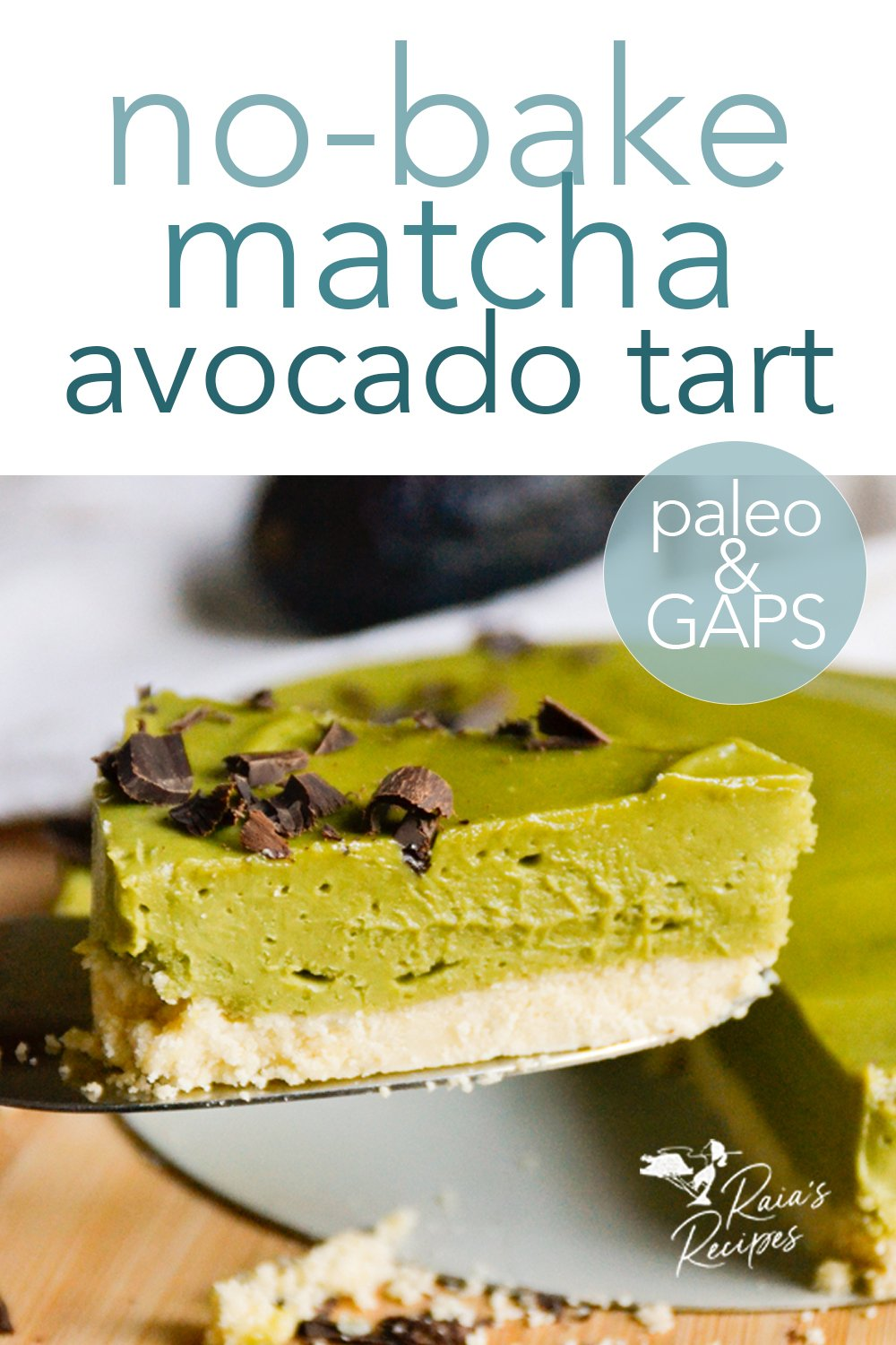 Easy and packed with flavor and nutrition, this no-bake matcha avocado tart is a sure winner for dessert when you don't want to turn the oven on! Perfect for paleo and full GAPS diets. #matcha #avocado #rawfood #paleo #gapsdiet #dessert #glutenfree #dairyfree #eggfree #refinedsugarfree #nobake