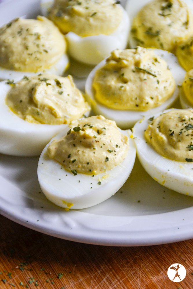Closeup of a plate full of keto ranch deviled eggs in the Instant Pot from raiasrecipes.com