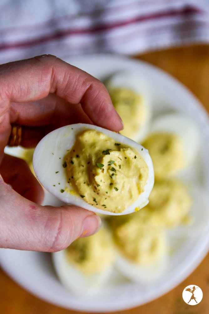 A keto ranch deviled egg in the Instant Pot from raiasrecipes.com