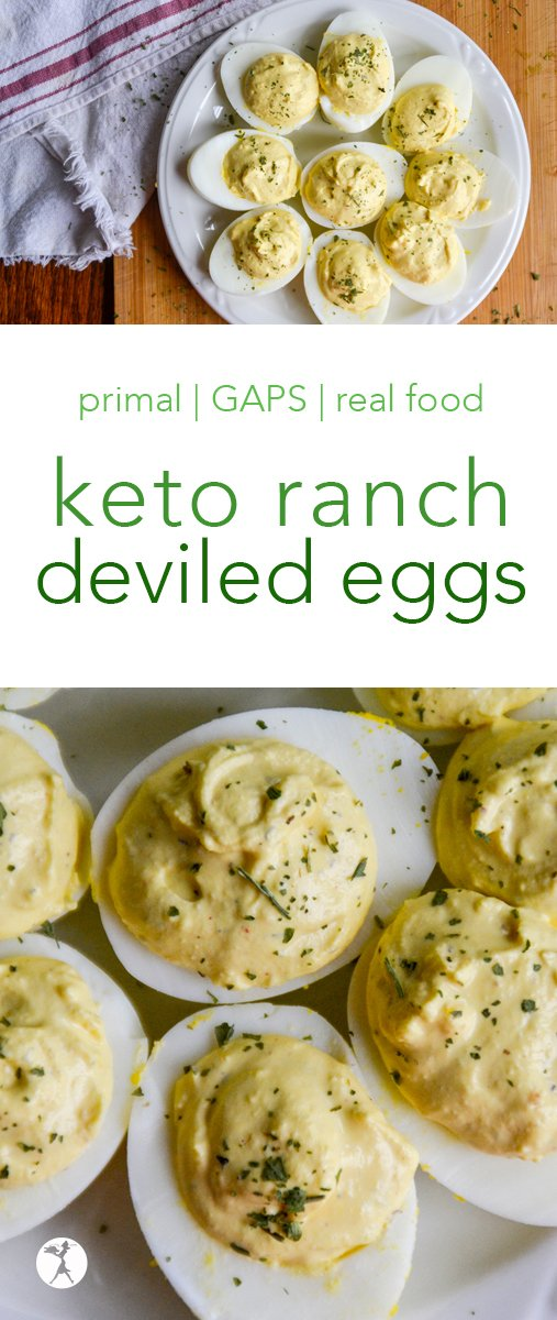 Perfect for primal or GAPS Diets, these keto ranch deviled eggs made in the Instant Pot are a delicious appetizer or side! Made with an easy, homemade ranch mix. #keto #ranch #deviledeggs #instantpot #primal #gaps #realfood #glutenfree #appetizer