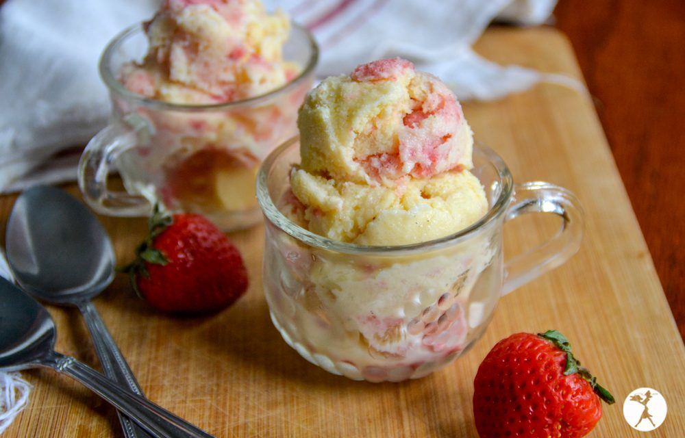 Probiotic Cheesecake Ice Cream with Strawberry Swirl
