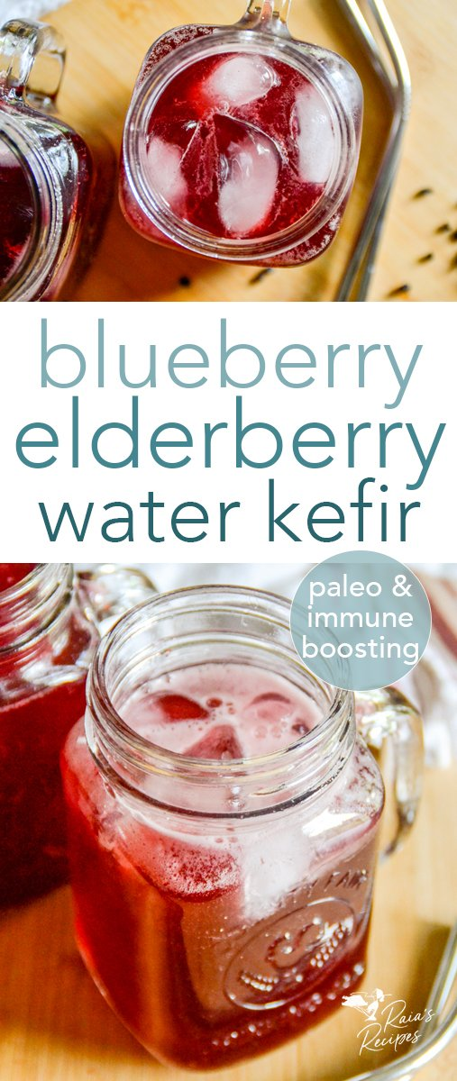 Refreshing and packed with vitamins, minerals, and antioxidants, this blueberry elderberry water kefir is a delicious drink! Naturally paleo and gluten-free, and safe for vegan and full GAPS diets, too! #blueberry #elderberry #waterkefir #probiotics #healthydrinks #paleo #glutenfree #dairyfree #refinedsugarfree