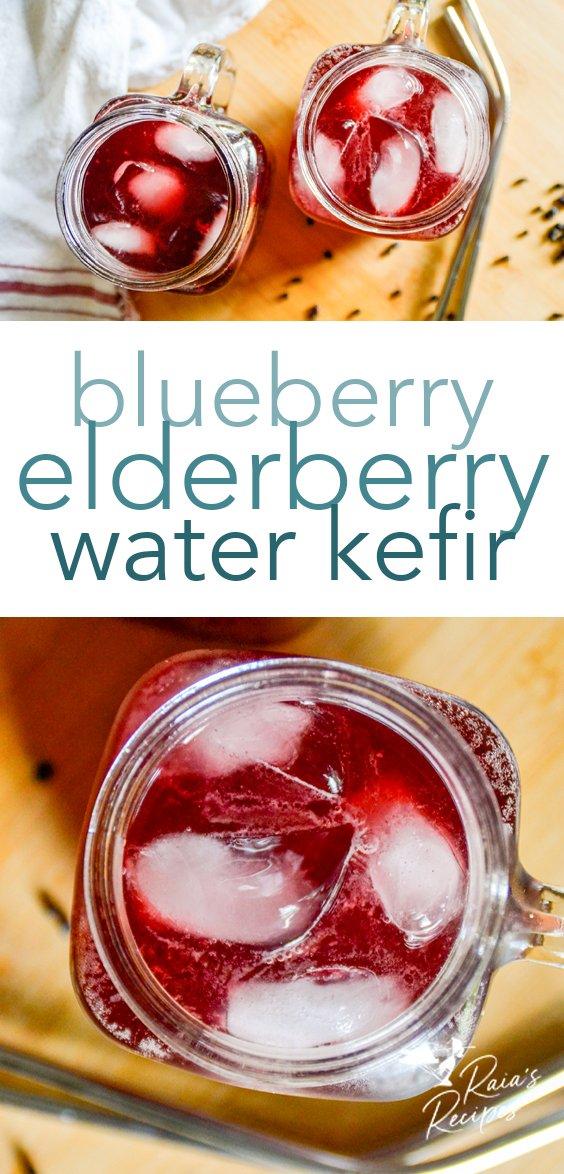 Immune-boosting blueberry and elderberry water kefir from raiasrecipes.com #blueberry #elderberry #waterkefir #immuneboosting #paleo #healthydrinks