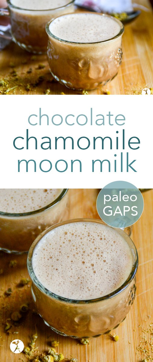 Calm down before bed with this nourishing and delicious chocolate chamomile moon milk. Perfect for kiddos, and for adults, too! Fits into paleo and full GAPS diets. #moonmilk #chocolate #chamomile #paleo #fullGAPSdiet #glutenfree #dairyfree #calming #drinks #traditional