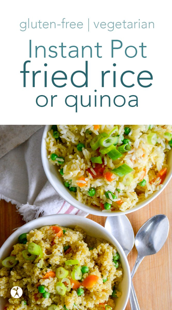 Easy Instant Pot Fried rice or quinoa for the win! This naturally gluten-free/grain-fee and vegetarian recipe is tasty and fun - a perfect side or easy lunch the whole family will enjoy. #instantpot #friedrice #friedquinoa #dinner #glutenfree #vegetarian #realfood