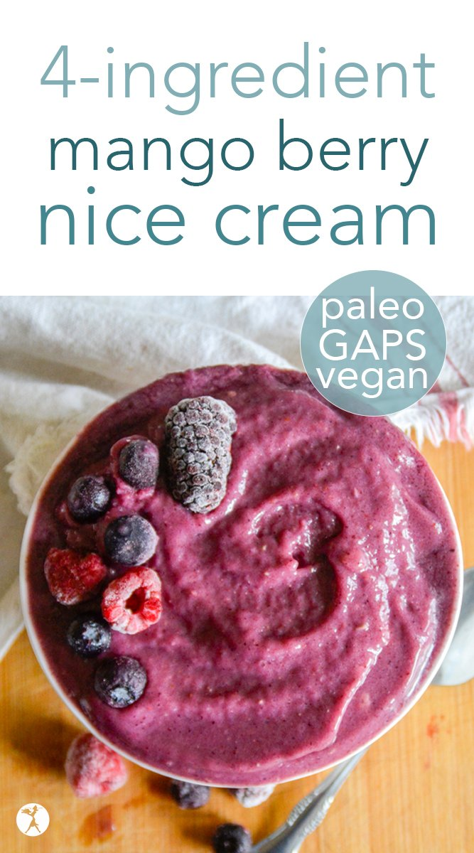 Refresh and nourish yourself with this easy and delicious mango berry nice cream! With only a few natural ingredients, this healthy treat fits snugly into paleo, GAPS, and vegan lifestyles! #nicecream #fruit #mango #berry #paleo #keto #gapsdiet #vegan #healthytreats #dessert #breakfast