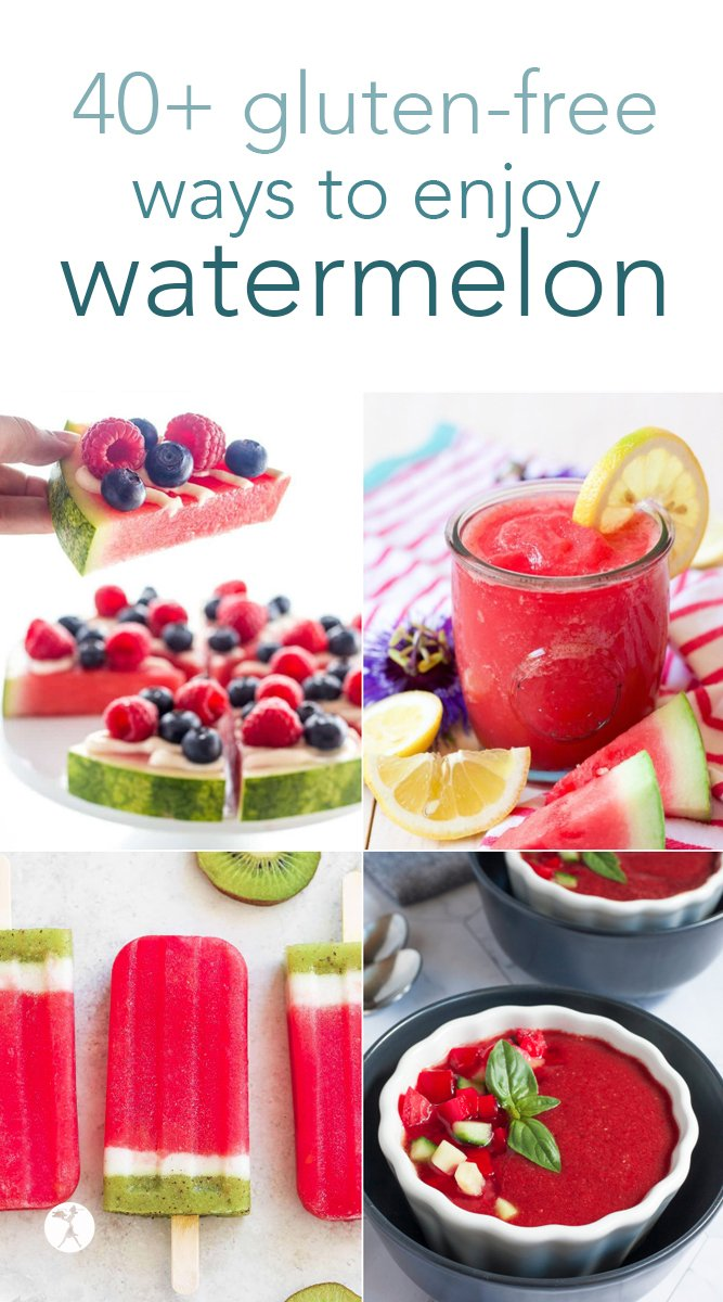 Beat the heat and nourish your body with these delicious gluten-free watermelon recipes! Over 40 fun and tasty ways to enjoy everyone's favorite summer fruit. #watermelon #glutenfree #refinedsugarfree #drinks #popsicles #gazpacho #salad #roundup #recipes #summer #fruit