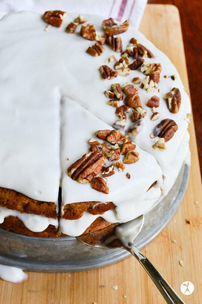 Sliced easy paleo carrot cake from raiasrecipes.com