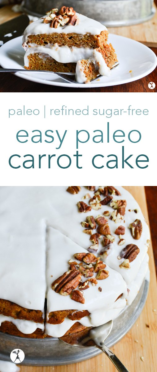 Soft and perfectly flavored, this easy paleo carrot cake is a winner every time. Topped with coconut whipped cream and lovely pecans, it's the perfect dessert. #paleo #grainfree #healthydessert #carrotcake #dairyfree #glutenfree #cake #refinedsugarfree