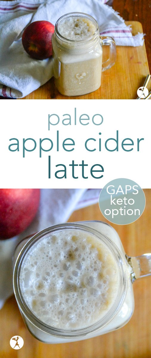 Packed with nutrition and lovely fall flavors, this delicious honey-sweetened paleo apple cider latte is a fun way to mix up your coffee! #coffee #paleo #applecider #latte #apples #drinks #gapsdiet #keto #healthy