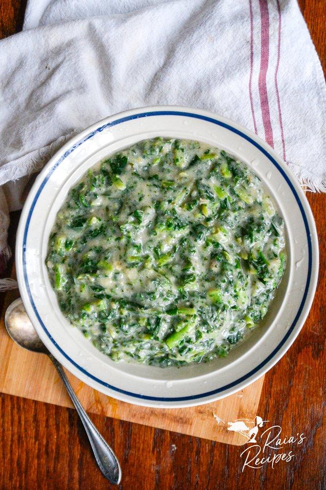 paleo creamed greens from raiasrecipes.com
