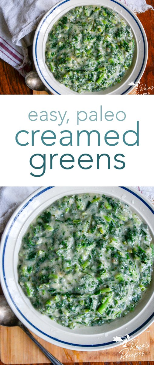 Missing your southern favorite this holiday season? You don't have to miss out anymore with these easy and delicious paleo creamed greens! #sidedish #creamedgreens #greens #southernfood #paleo #glutenfree #dairyfree