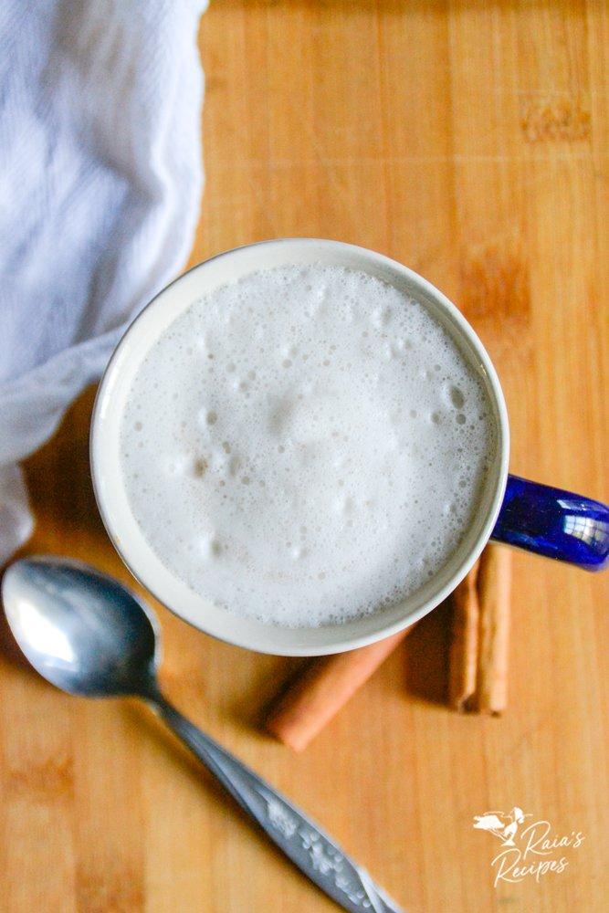 cinnamon yerba mate latte from the top raiasrecipes.com