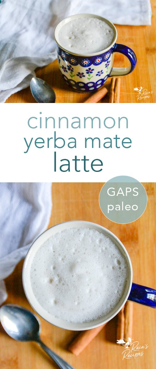 Nourishing and comforting, this paleo cinnamon yerba mate latte is just what your day needs! Full of nutritional ingredients, and no fancy equipment required, you'll be enjoying this latte over and over. #yerbamate #latte #drinks #tea #paleo #gapsdiet #glutenfree #dairyfree #refinedsugarfree #cinnamon #hotdrinks