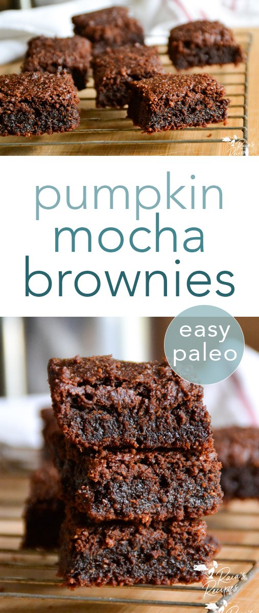 With a nice dark chocolate flavor and the subtlest hint of pumpkin, these paleo pumpkin mocha brownies will delight your taste buds and nourish you at the same time! #paleo #pumpkin #mocha #brownies #dessert #chocolate #glutenfree #grainfree #eggfree #pumpkinspice