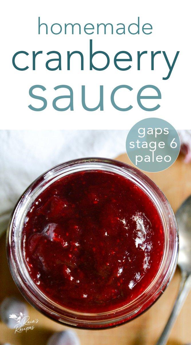 Easy Homemade Cranberry Sauce #homemade #cranberry #cranberrysauce #paleo #primal #gapsdiet #introstage6 #glutenfree #dairyfree #eggfree