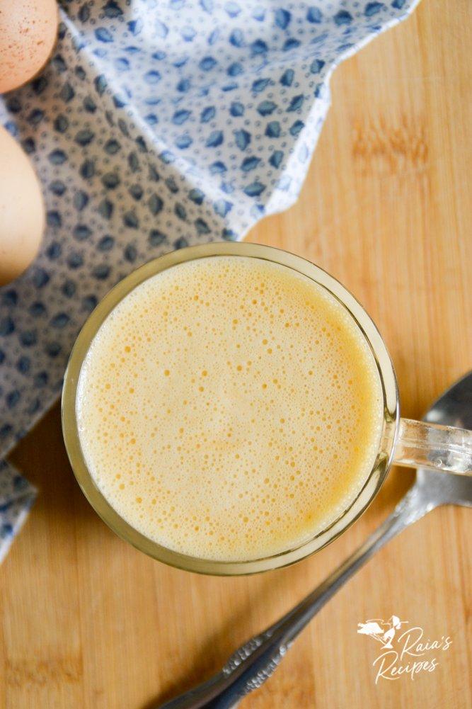 top shot of paleo pumpkin eggnog from raiasrecipes.com