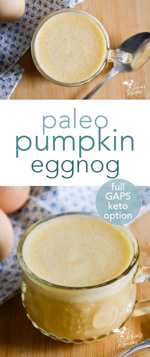 Thick, creamy, nourishing, and delicious, this homemade paleo pumpkin eggnog has it all! It's so easy to make, you'll be enjoying it all winter long, guilt-free! #paleo #pumpkin #eggnog #drinks #holiday #dessert #treat #glutenfree #dairyfree #fullgapsdiet #keto