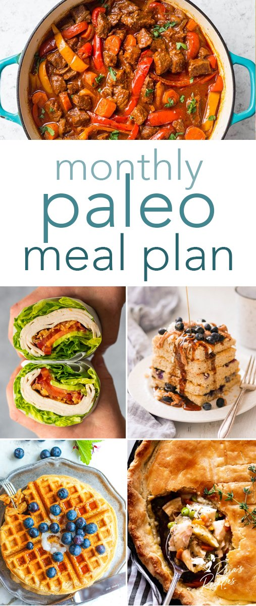 Need help with meal planning? I've got you covered with this delicious and healthy monthly paleo meal plan! From breakfast to dinner, every meal is covered. #paleo #mealplan #breakfast #lunch #dinner #menu #mealplanning