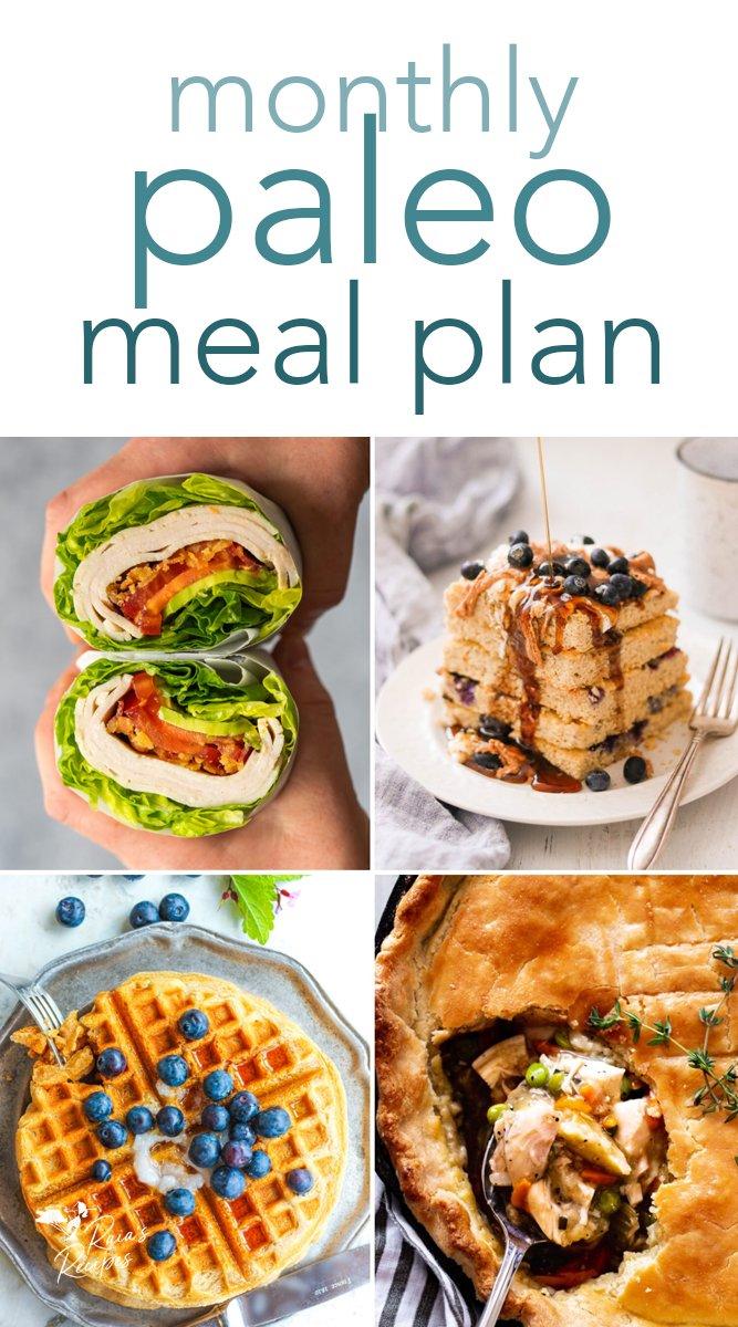 Monthly Paleo Meal Plan #paleo #mealplan #breakfast #lunch #dinner #menu #mealplanning