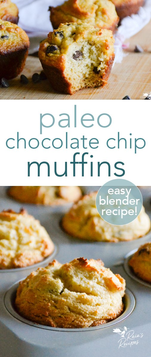 Not too sweet, and with the perfect crumb, these easy paleo chocolate chip muffins are great for breakfast, snacks, and a healthy treat! They're made in the blender, too, so they're a win for easy cleanup! #paleo #glutenfree #dairyfree #refinedsugarfree #chocoatechip #muffins #blenderrecipe