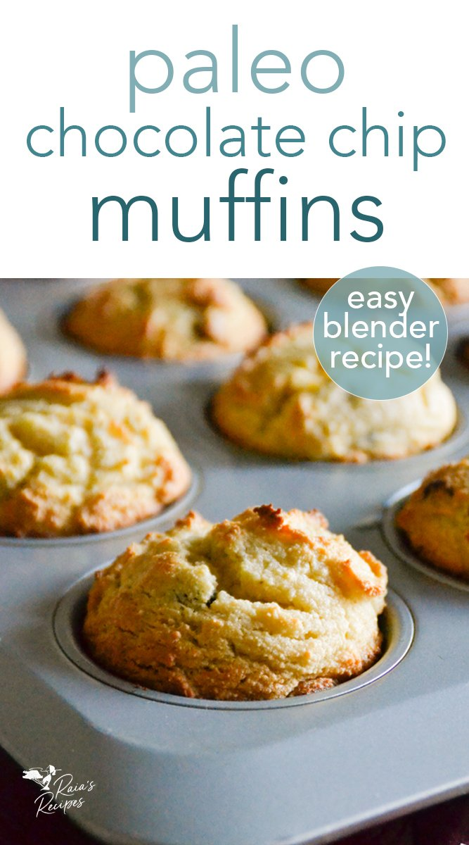 Blender Paleo Chocolate Chip Muffins #paleo #glutenfree #dairyfree #refinedsugarfree #chocoatechip #muffins #blenderrecipe