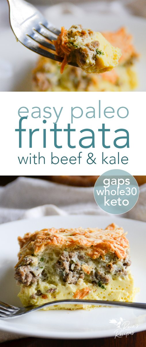 Treat yourself to a delicious breakfast with this easy paleo frittata! Packed with ground beef and kale, it's a delicious way to start - or end - the day! #paleo #whole30 #gapsdiet #gapsintrodiet #gapsstage4 #gapsstage5 #gapsstage6 #keto #lowcarb #dairyfree #beef #kale #eggs #frittata