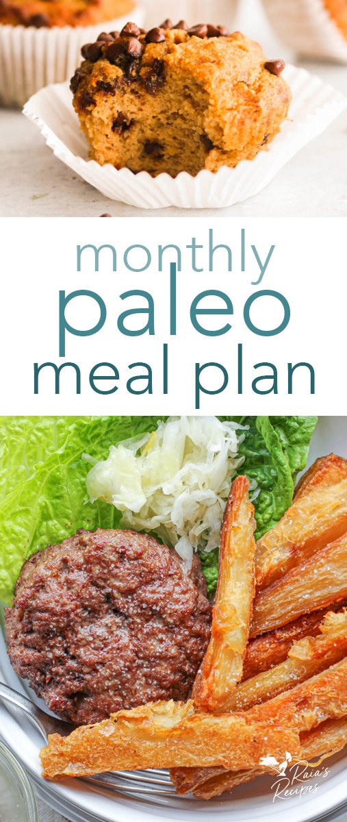 Need help with meal planning? I've got you covered with this delicious and healthy monthly paleo meal plan! #paleo #mealplan #breakfast #lunch #dinner #menu #mealplanning