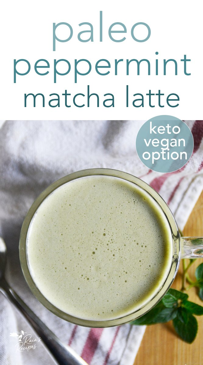 Stay calm and focused with the slow-release caffeine in this delicious paleo peppermint matcha latte! #paleo #keto #vegan #glutenfree #peppermint #matcha #latte #caffeine #drinks #nourishing #healthy