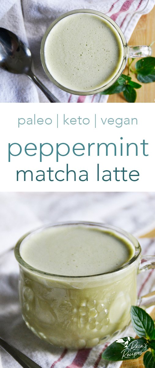 Stay calm and focused with the slow-release caffeine in this delicious paleo peppermint matcha latte! It's packed with nutrients and easy to make, so you can enjoy it fuss-free whenever you need! #paleo #keto #vegan #glutenfree #peppermint #matcha #latte #caffeine #drinks #nourishing #healthy
