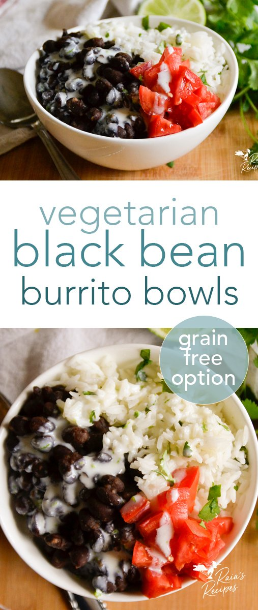 Packed with flavor and full of protein, these vegetarian black bean burrito bowls are easy to pull together. They're a great, family-friendly meal that even your meat-eaters will love! #vegetarian #glutenfree #grainfree #burrito #bowl #healthy #kidfriendly