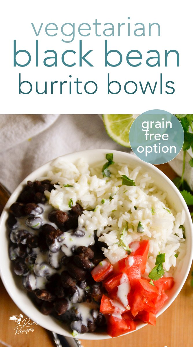Packed with flavor and full of protein, these vegetarian black bean burrito bowls are easy to pull together. #vegetarian #glutenfree #grainfree #burrito #bowl #healthy #kidfriendly