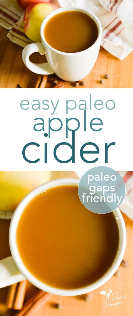 Nourish yourself while warming up with this easy and delicious homemade paleo apple cider! Only a few, natural ingredients, and sweetened with honey, this drink is perfect for fall, winter, and spring. #homemade #paleo #apple #cider #drinks #glutenfree #gapsdiet #cinnamon