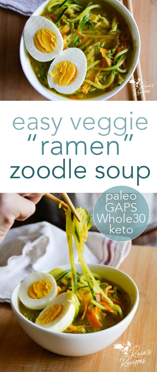 """Nourishing and comforting, this easy veggie ramen zoodle soup is a fun way to pack in the veggies! Made with spiralized """"noodles,"""" it's fun to make and eat! #ramen #veggies #soup #zoodles #keto #paleo #whole30 #glutenfree #vegan #vegetarian #gapsdiet"""
