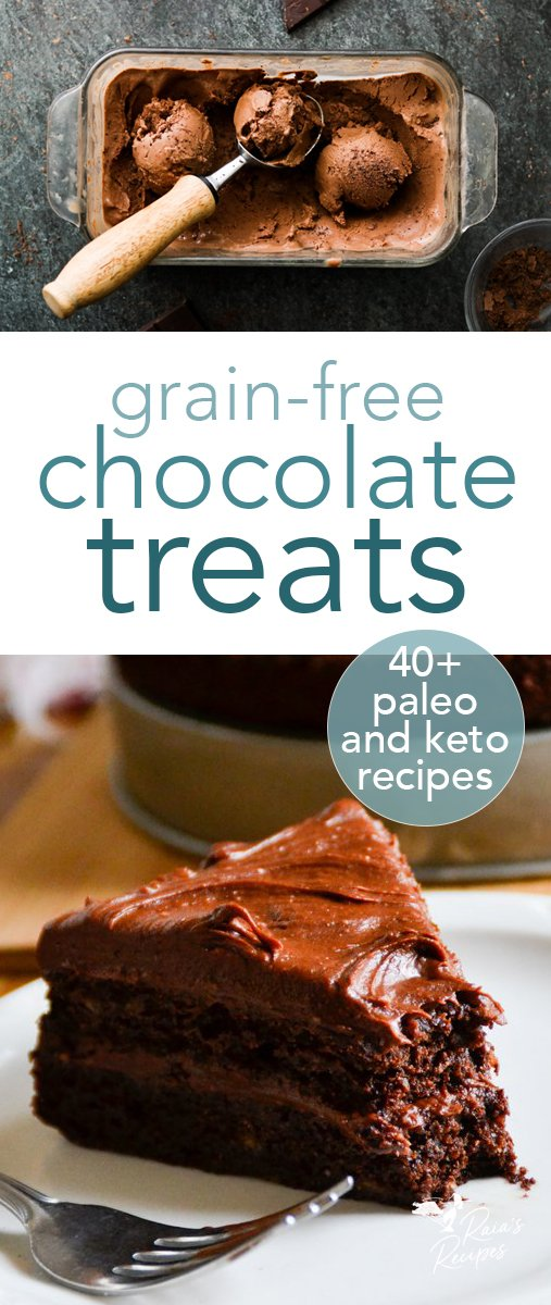 Need healthy grain-free chocolate treats that are perfect for Valentine's Day (or any day)? Any of these delicious grain-free options will be perfect! #chocolate #healthy #grainfree #primal #paleo #keto #glutenfree #refinedsugarfree #dessert #valentinesday