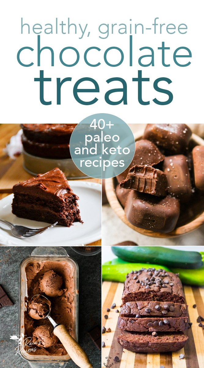 Over 40 paleo, primal, keto chocolate treats from raiasrecipes.com #chocolate #healthy #grainfree #primal #paleo #keto #glutenfree #refinedsugarfree #dessert #valentinesday