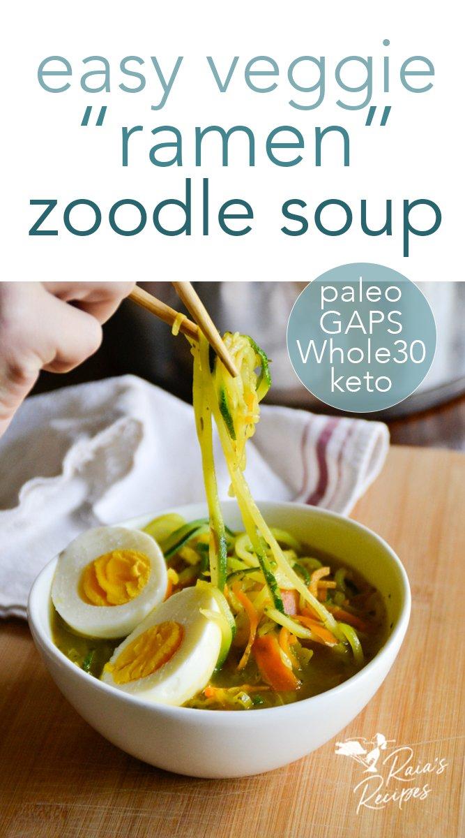 Delicious and nourishing ramen zoodle soup! paleo, keto, whole30, and gaps friendly! #ramen #veggies #soup #zoodles #keto #paleo #whole30 #glutenfree #vegan #vegetarian #gapsdiet