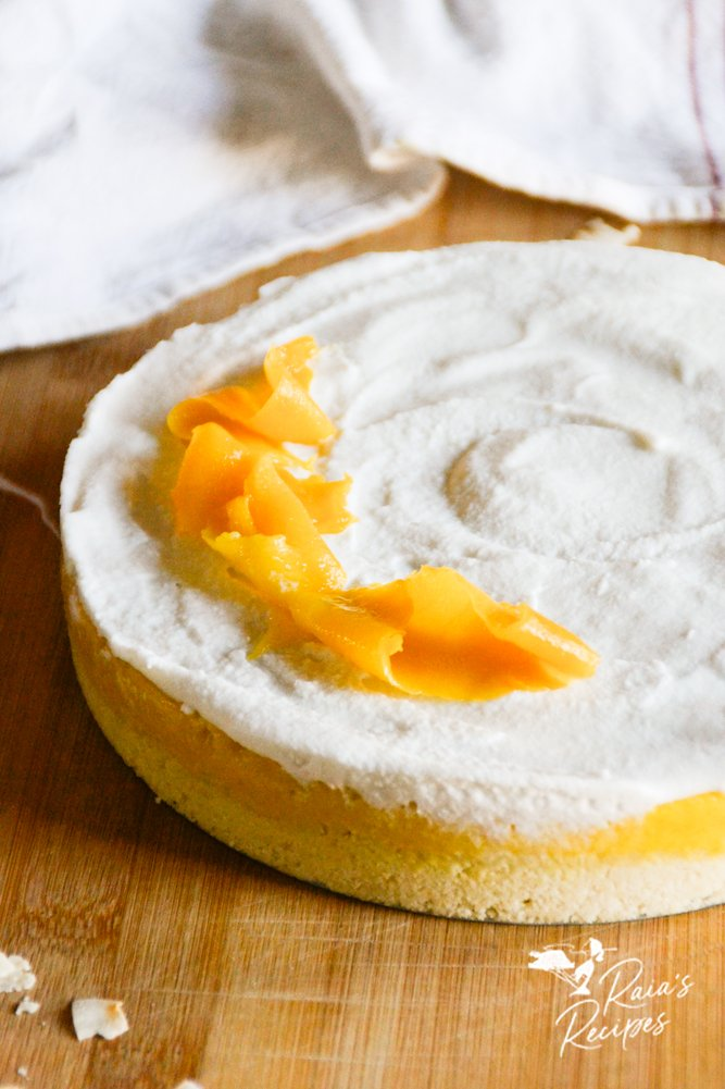 close up coconut mango tart
