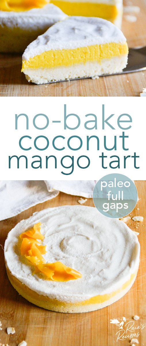 No need to turn on the oven to enjoy this delicious coconut mango tart! Easy no-bake crust, a creamy mango filling, and a coconut cream topping. #paleo #fullgaps #refinedsugarfree #nobake #coconut #mango #tart #dessert #healthy #vegetarian #glutenfree #dairyfree