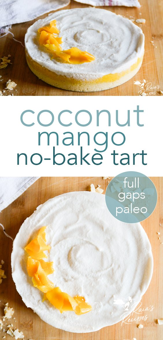 No need to turn on the oven to enjoy this delicious coconut mango tart! #paleo #fullgaps #refinedsugarfree #nobake #coconut #mango #tart #dessert #healthy #vegetarian