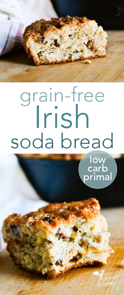 """For a healthy and delicious version of the traditional bread, this grain-free Irish soda bread is a favorite at my house! It can be made plain, or studded with walnuts and raisins for a """"spotted dog"""" version. #irish #sodabread #grainfree #primal #lowcarb #glutenfree #raisins #walnuts #traditional #bread #spotteddog"""