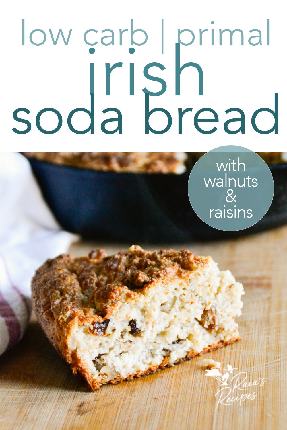 For a healthy and delicious version of the traditional bread, this grain-free Irish soda bread is a favorite at my house! #irish #sodabread #grainfree #primal #lowcarb #glutenfree #raisins #walnuts #traditional #bread #spotteddog