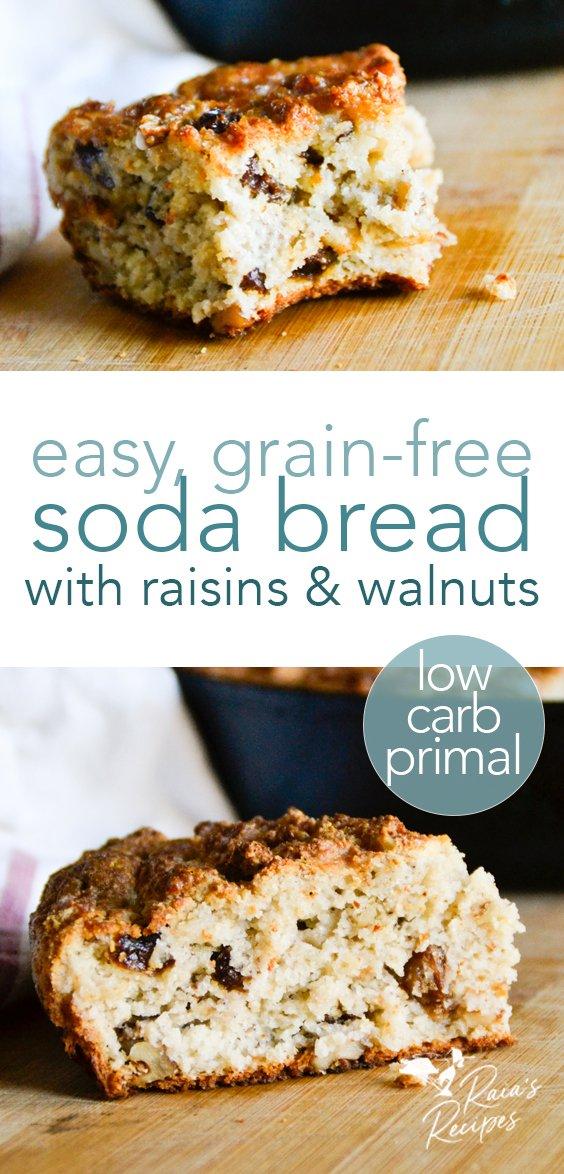 Easy, grain-free Irish soda bread with raisins & walnuts. #irish #sodabread #grainfree #primal #lowcarb #glutenfree #raisins #walnuts #traditional #bread #spotteddog