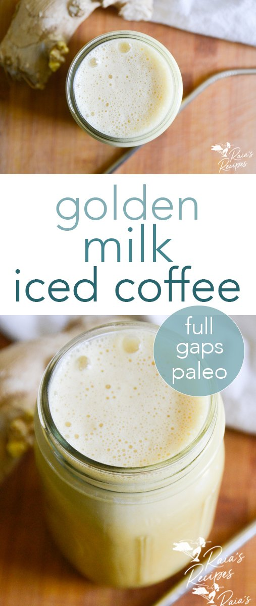 Golden Milk Iced Coffee from raiasrecipes.com #goldenmilk #coffee #icedcoffee #paleo #agapsdiet #drinks #antiinflammatory