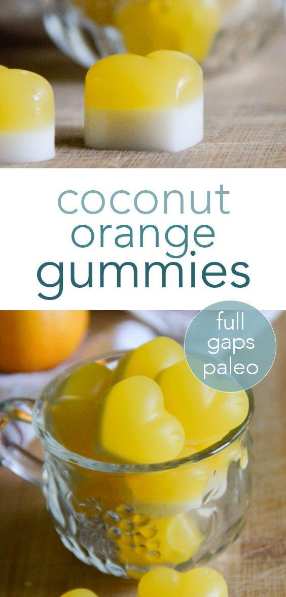 Easy coconut orange gummies from raiasrecipes.com | #paleo #gummies #coconut #orange #orangejuice #fruitsnacks #homemade #glutenfree #dairyfree #refinedsugarfree