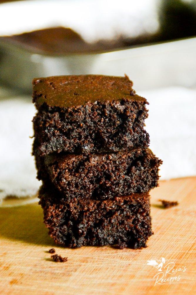 stack of cassava flour brownies from raiasrecipes.com